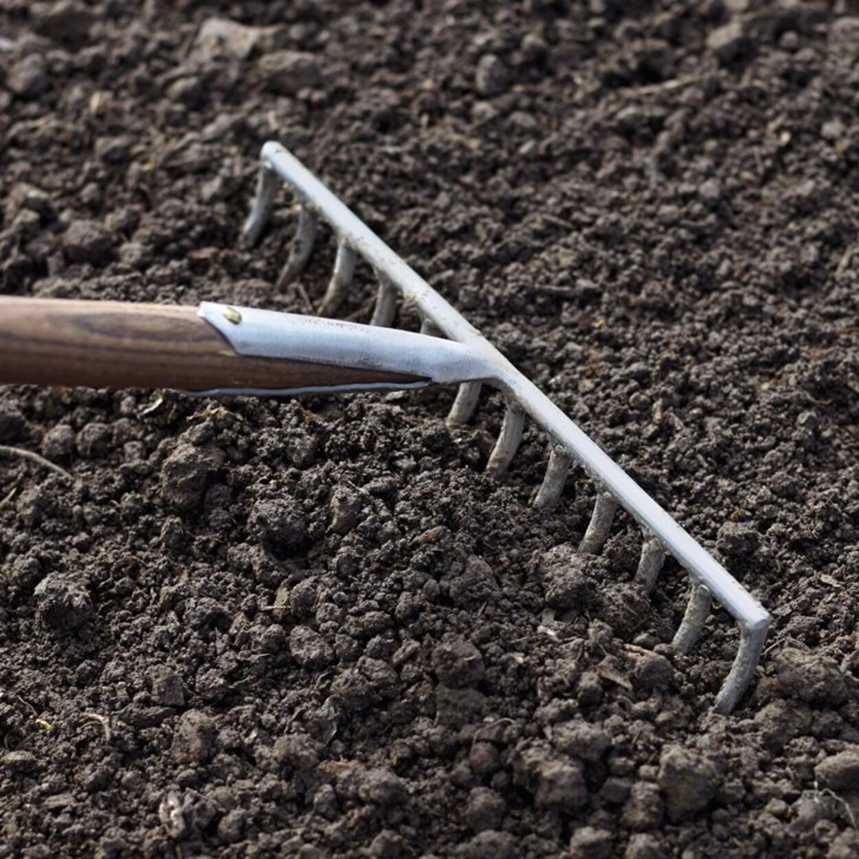 Mit dem Rechen ein gutes Saatbett bereiten