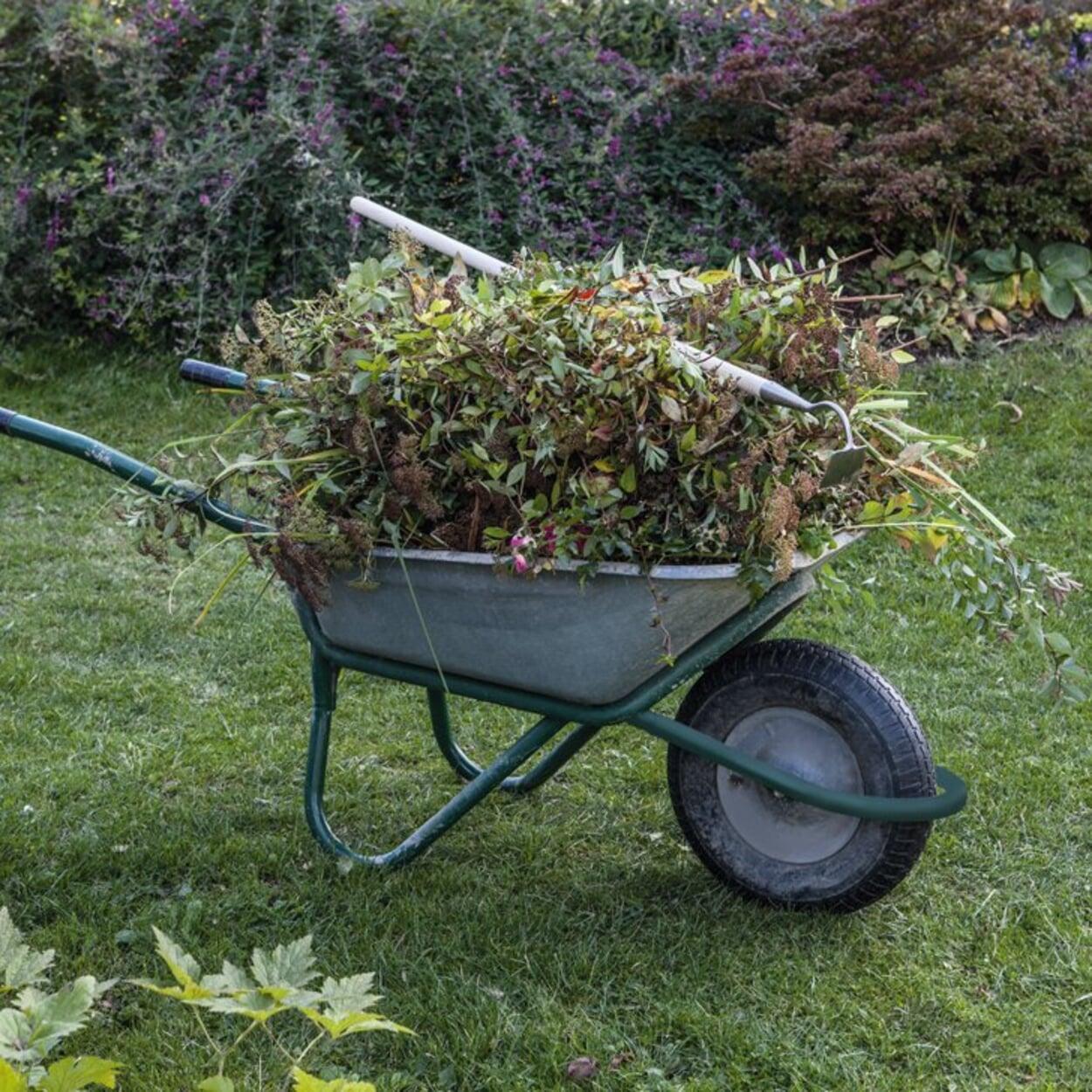 Alle Gartenabfälle sammeln und zu frischem Kompost aufsetzen