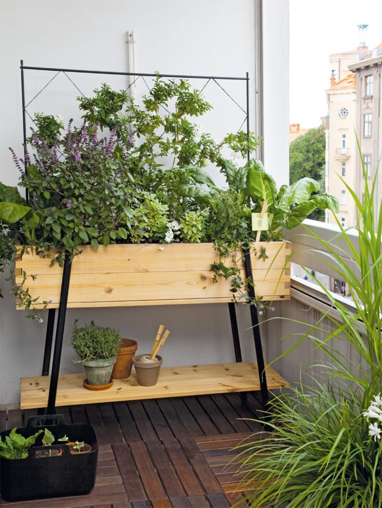 Balkonhochbbeet mit Gemüse und Kräutern