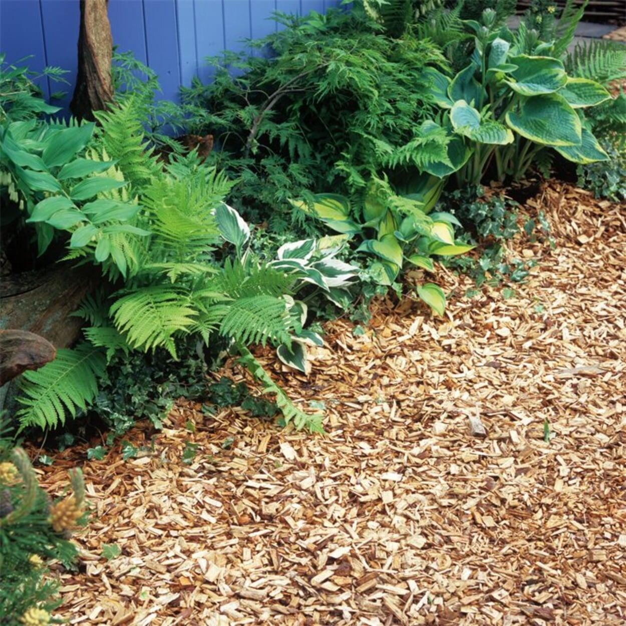 Holzhäcksel eignet sich zum Mulchen und als Wegebelag