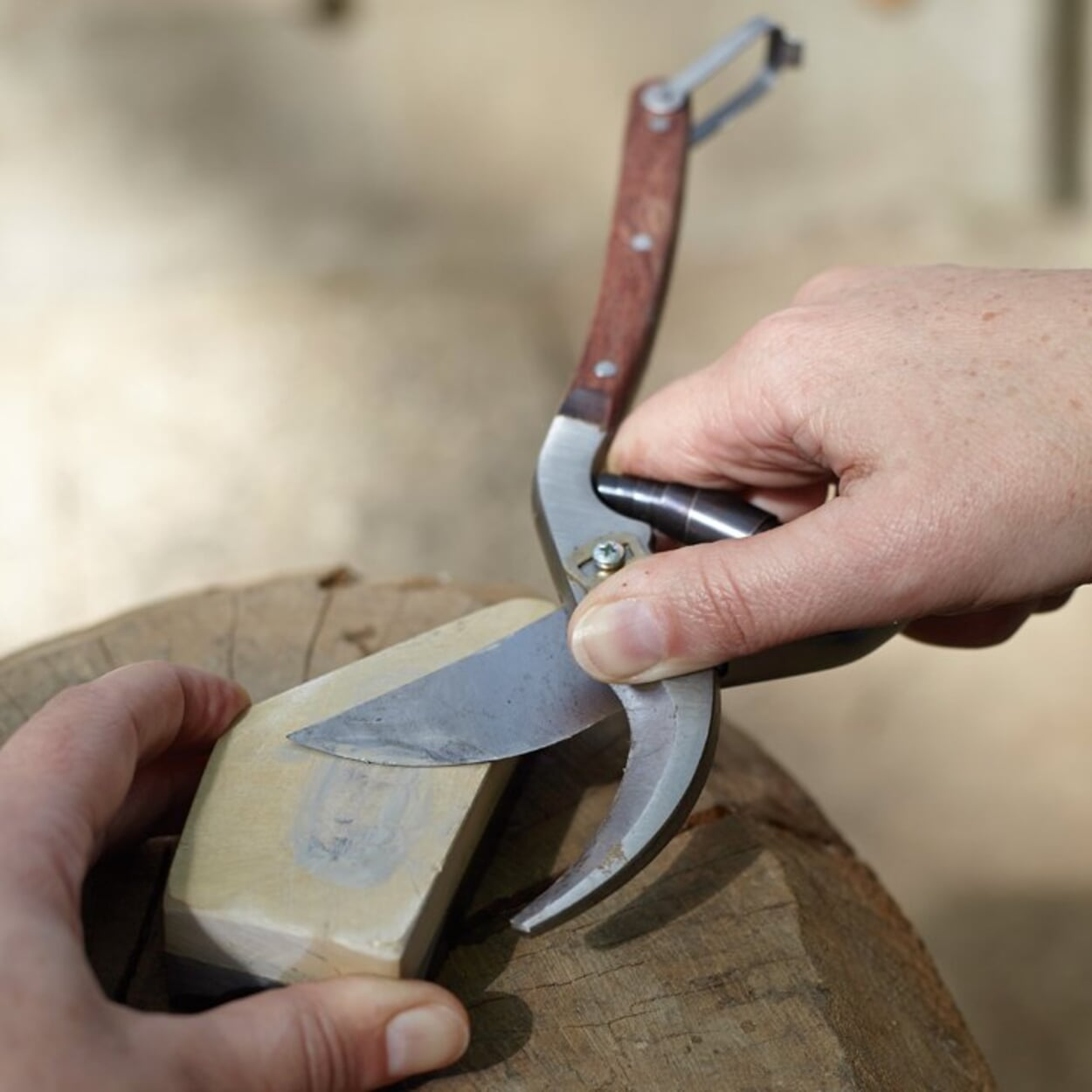Scherenklingen mit Hilfe eines Schleifsteins schärfen