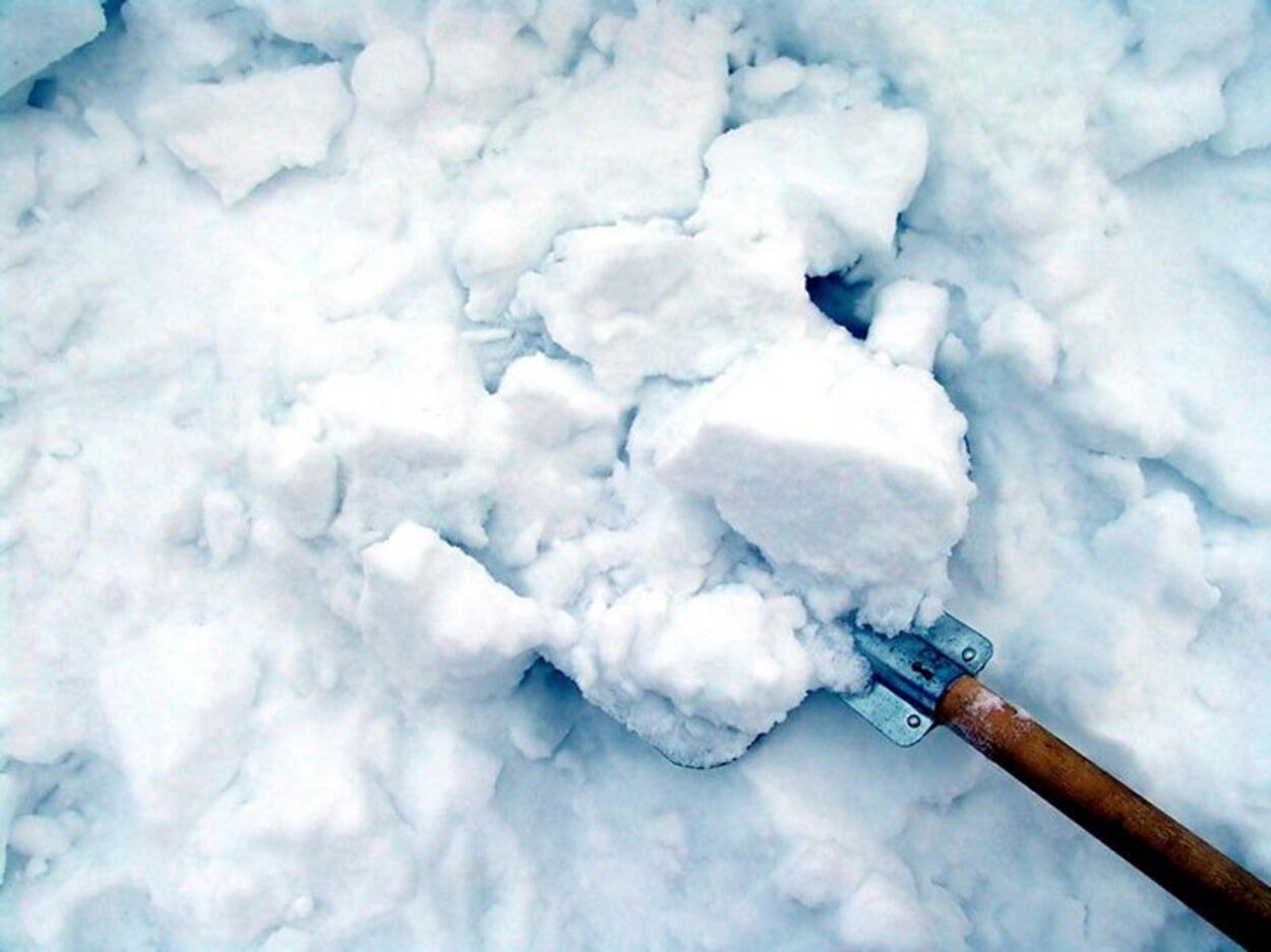 Schnee entfernen auf Wegen, Dächern und Pflanzen