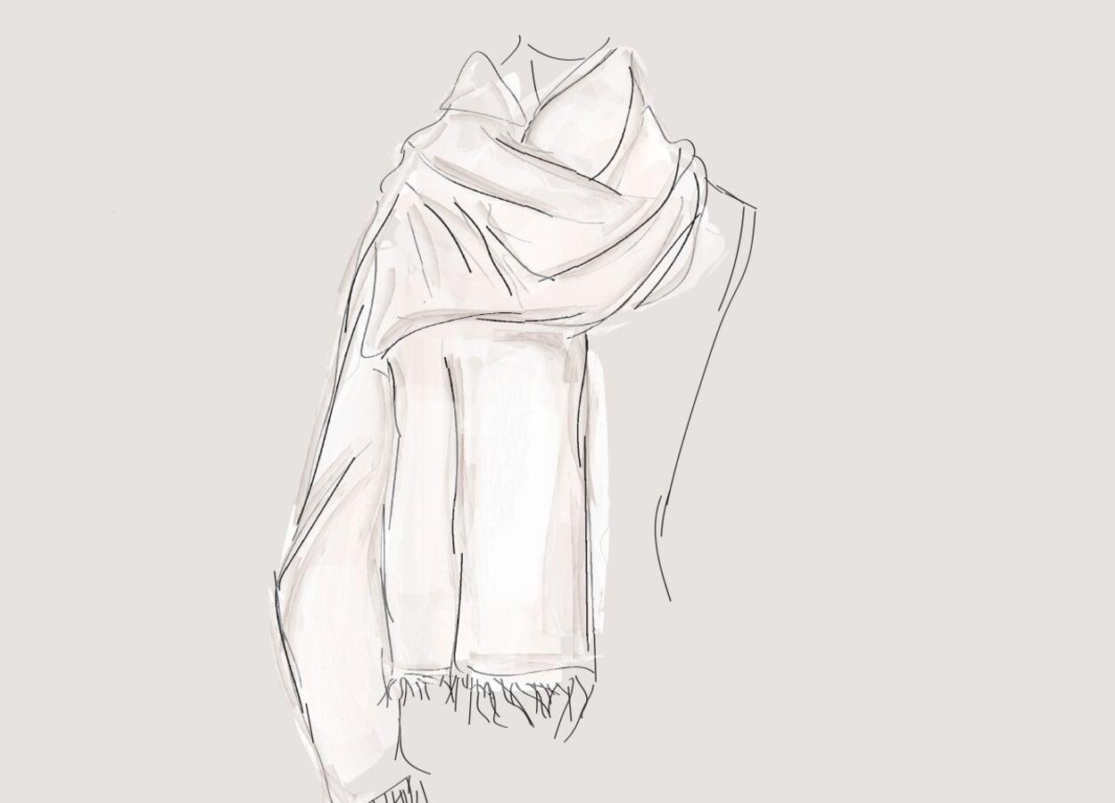 Bindevariante für lange. breite Schals