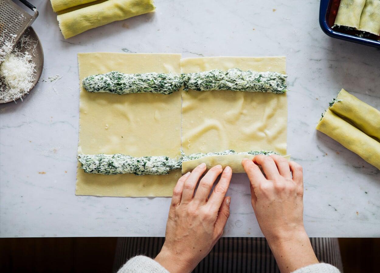 Cannelloni mit Bärlauch-Ziegenkäse-Füllung
