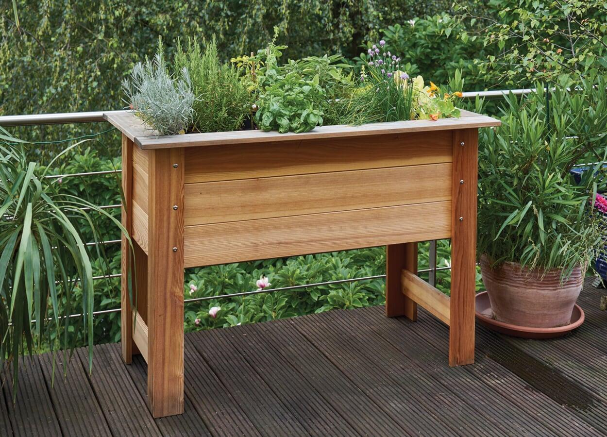 Hochbeet Lärchenholz für Balkon und Terrasse