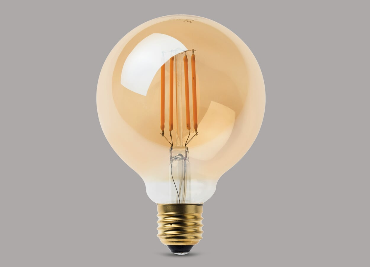 LED Filamentlampe goldgelüstert