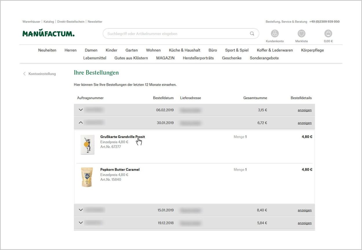 Bestellung und Produkt für Bewertung auswählen