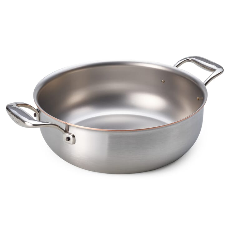 Braising Pan with Copper Core, Rounded Sides