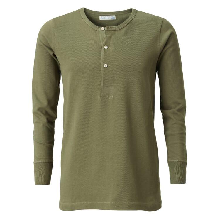 Long-Sleeved Men's Shirt Made of Jersey by Merz b. Schwanen, Green