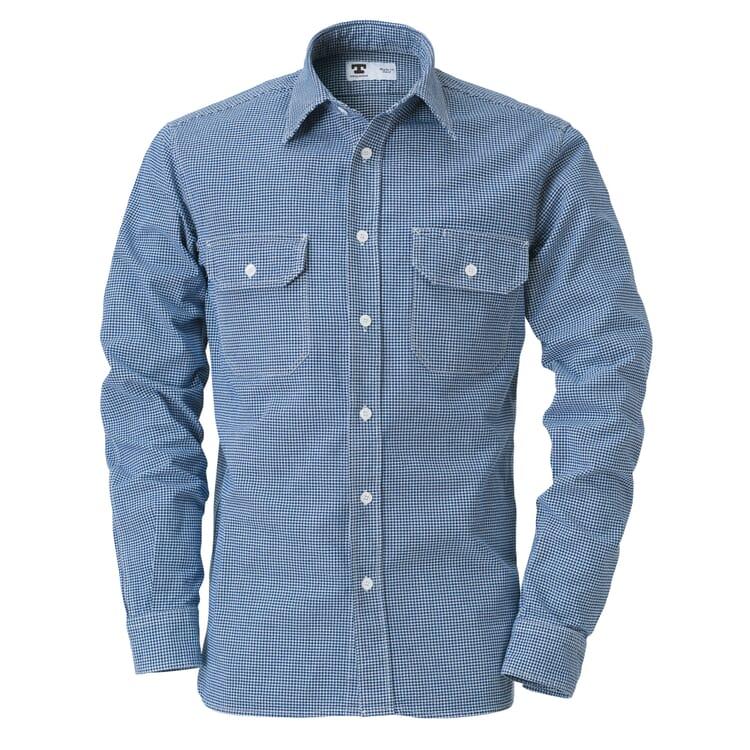 Men's Shirt with Shepherd's Check by Tellason, Blue-White