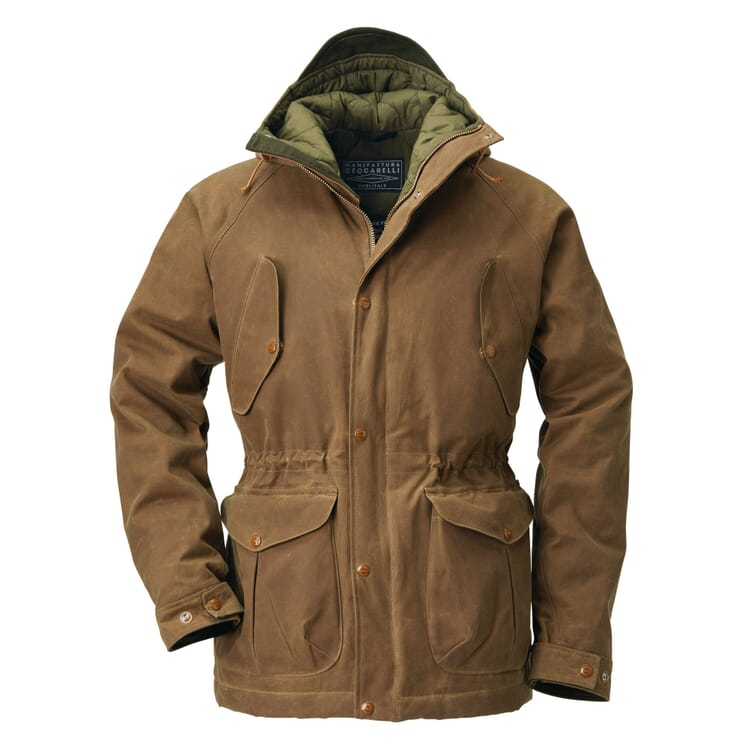 Men's Waxed Canvas Anorak with Wool Lining by Manifattura Ceccarelli, Medium Brown