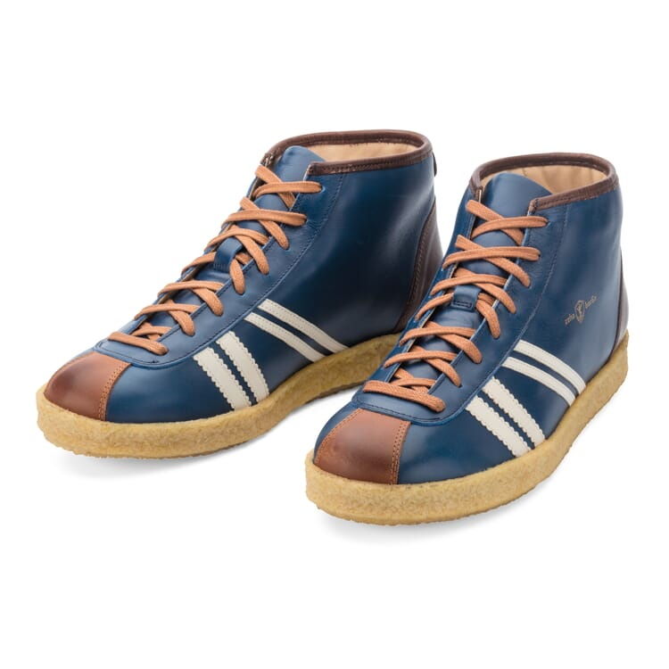 """Leather Sports Shoes """"Trainer"""" by Zeha, Medium Blue"""