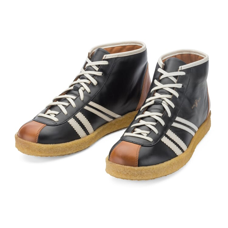 """Leather Sports Shoes """"Trainer"""" by Zeha, Black"""