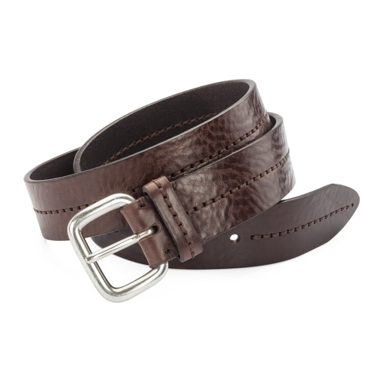 Schröder Double Stitched Belt, Dark brown