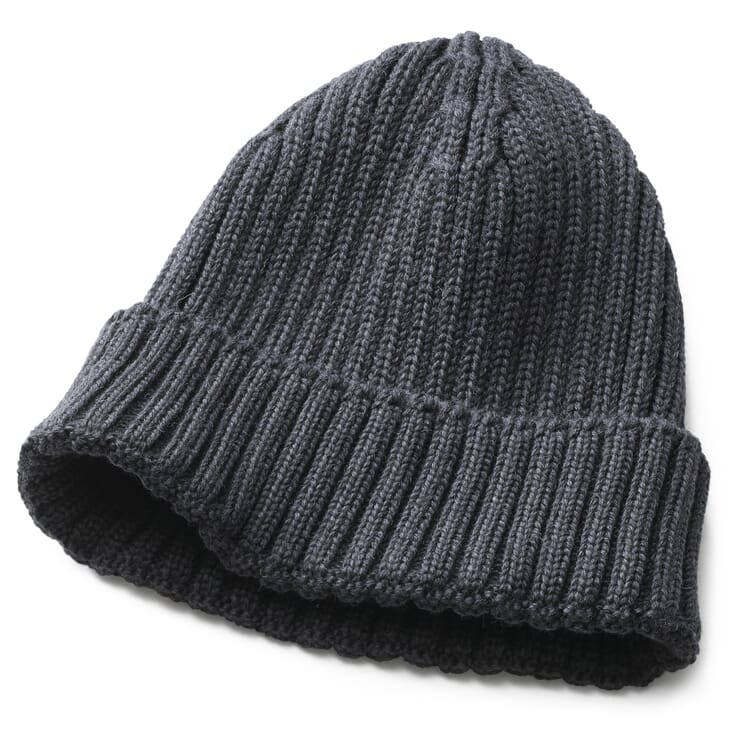 Men's Knitted Cap with Turn-Up, Anthracite