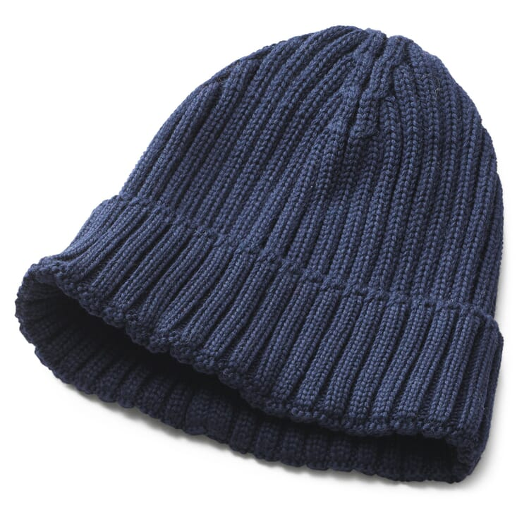 Men's Knitted Cap with Turn-Up, Blue