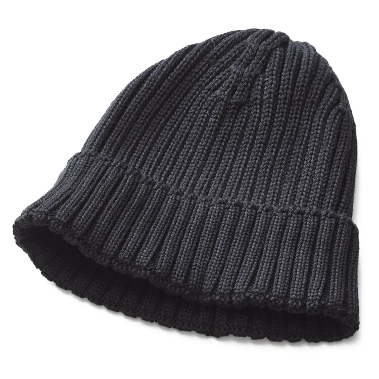 Men's Knitted Cap with Turn-Up Black