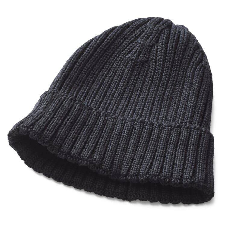 Men's Knitted Cap with Turn-Up, Black