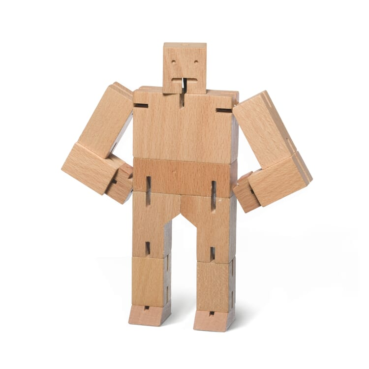 Wooden Figure Cubebot, Untreated