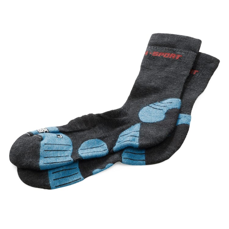 Sports Socks Made of Merino Wool, Anthracite-Teal