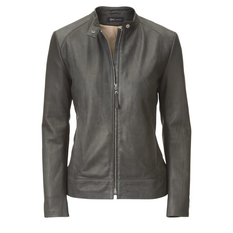 Women's Grey Cattle Leather Jacket by Hack, Grey