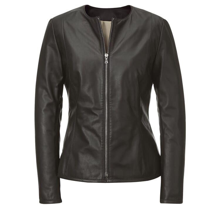 Women's Black Cattle Leather Jacket by Hack