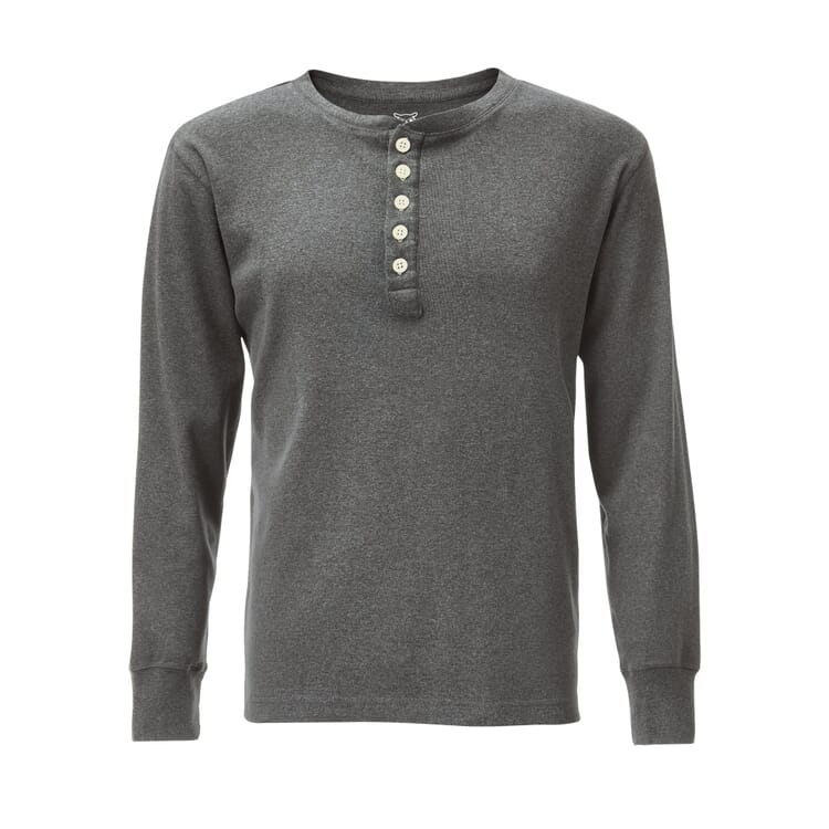 Knowledge Cotton Apparel Henley Shirt, Grey Melange