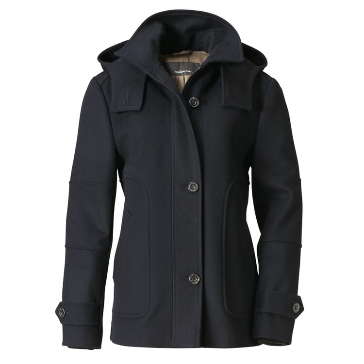 Women's Navy Loden Jacket with a Hood