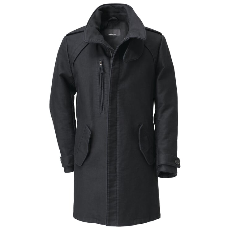 Manufactum Men's Coat German Moleskin Black