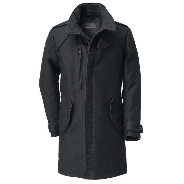 Manufactum Men's Coat German Moleskin, Black