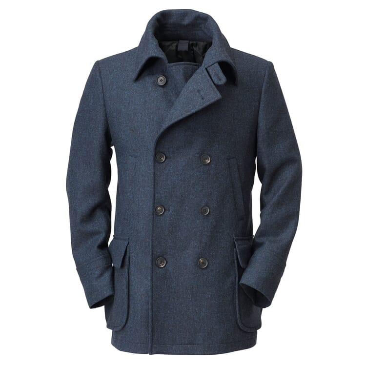 Men's Pea Coat with Bellows Pockets, Blue