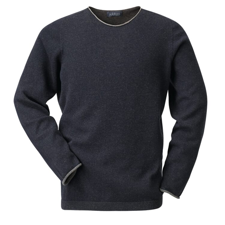 Seldom Men's Merino Wool Jumper, Blue-Brown