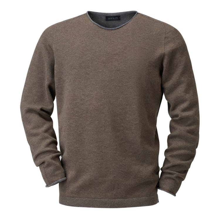 Seldom Men's Merino Wool Jumper, Brown-Grey