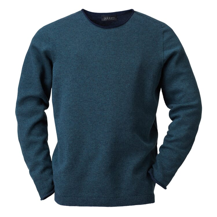 Seldom Men's Merino Wool Jumper, Green-Blue