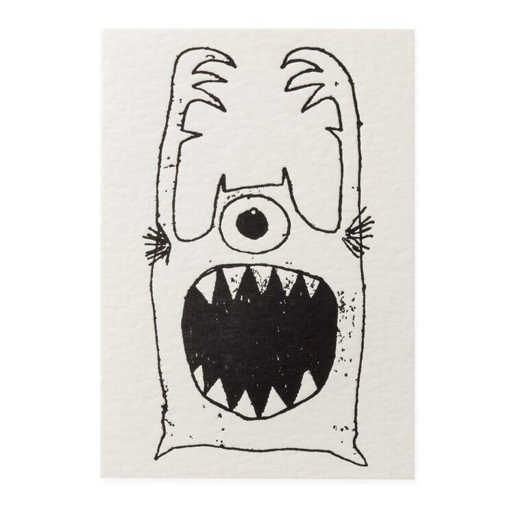 Grußkarte Buchdruck, Monster