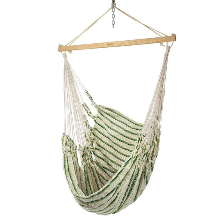 Hammock Chair in Cotton, Beige/Green