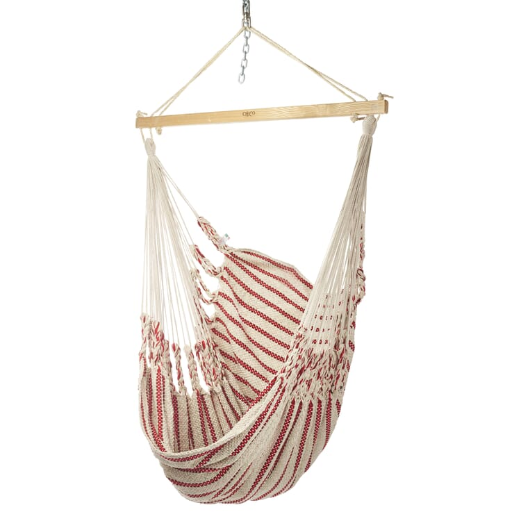 Hammock Chair in Cotton, Beige/Red