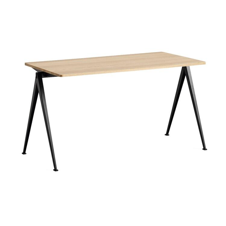Tisch Pyramid, rechteckig Klein Schwarz / Eiche