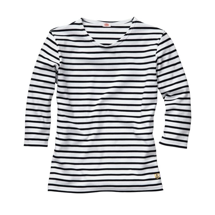 Armor lux Women's Shirt with Three Quarter Sleeves White-navy blue