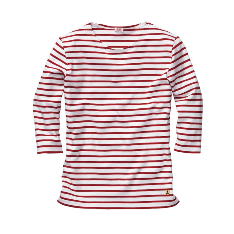 Armor lux Women's Shirt with Three Quarter Sleeves White-red