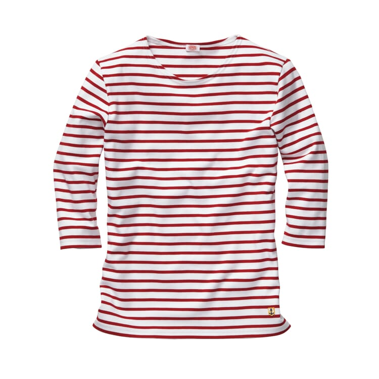 Women's Shirt with Three-Quarter-Lenght Sleeves by Armor lux, White-red