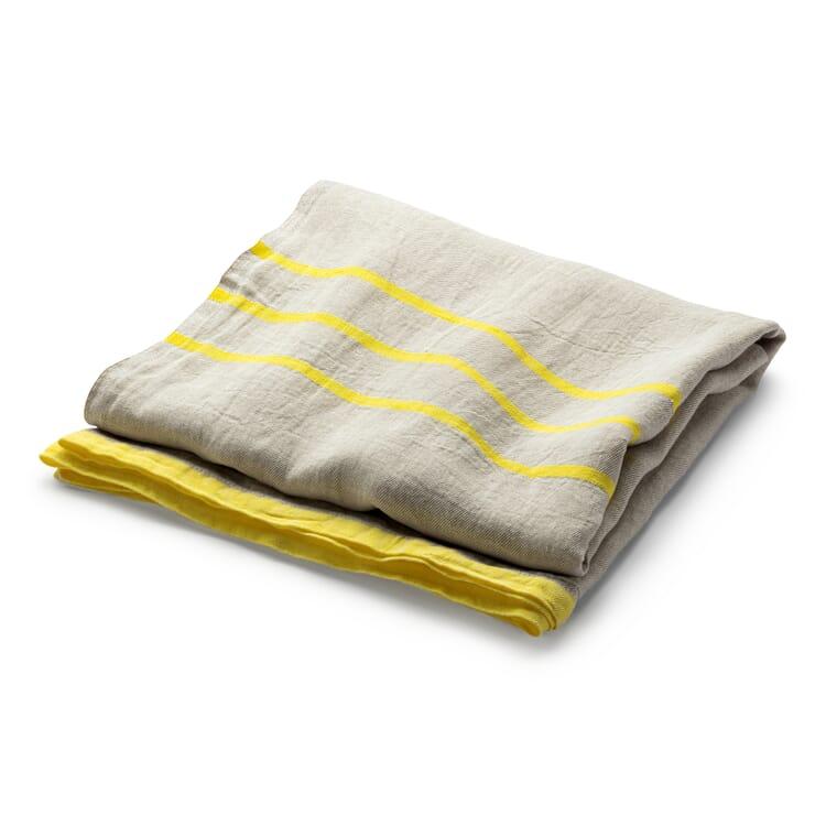 Large Linen Blanket, Ecru-Yellow