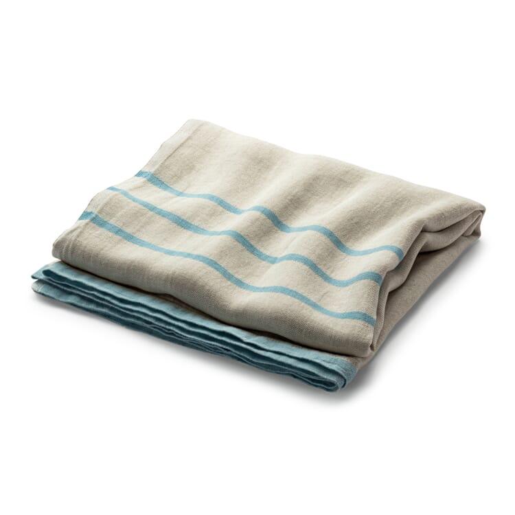 Large Linen Blanket, Ecru-Blue