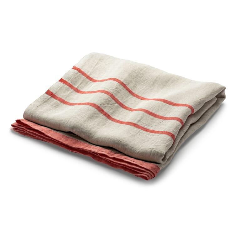 Large Linen Blanket, Ecru-Red