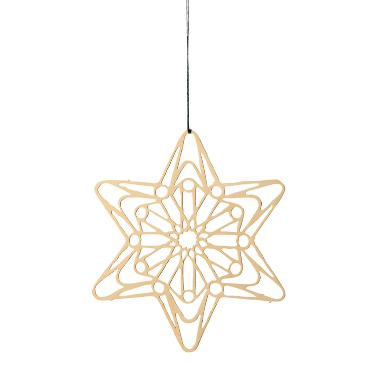 Gold-Plated Brass Pendant, Filigree Star Motif, Ø 7 cm