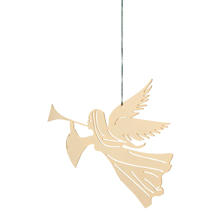 Gold-Plated Brass Pendant, Trumpeting Angel