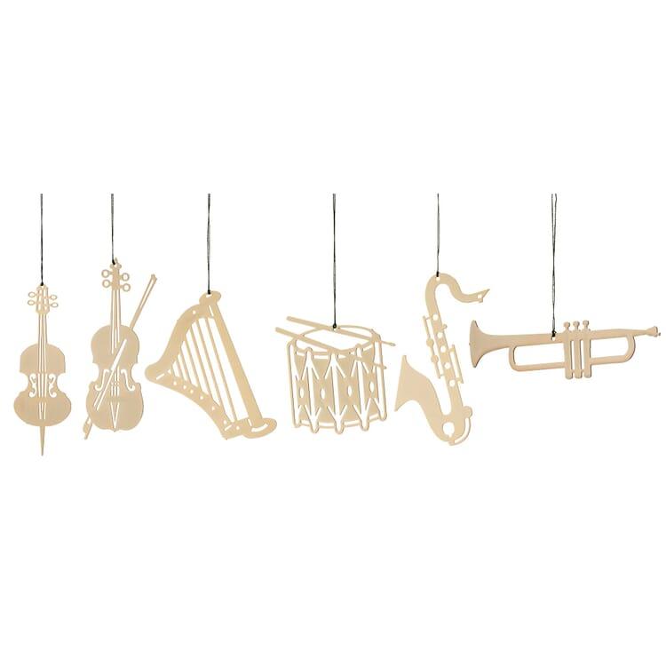 Messinghänger vergoldet, 6 Motive im Set: Musikinstrumente