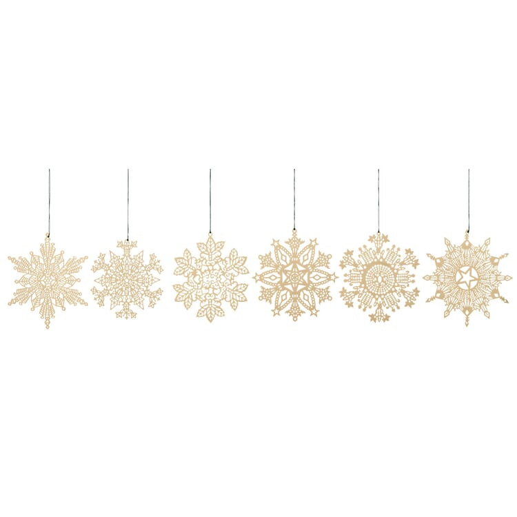 Messinghänger vergoldet 6 Motive im Set: Schneekristalle