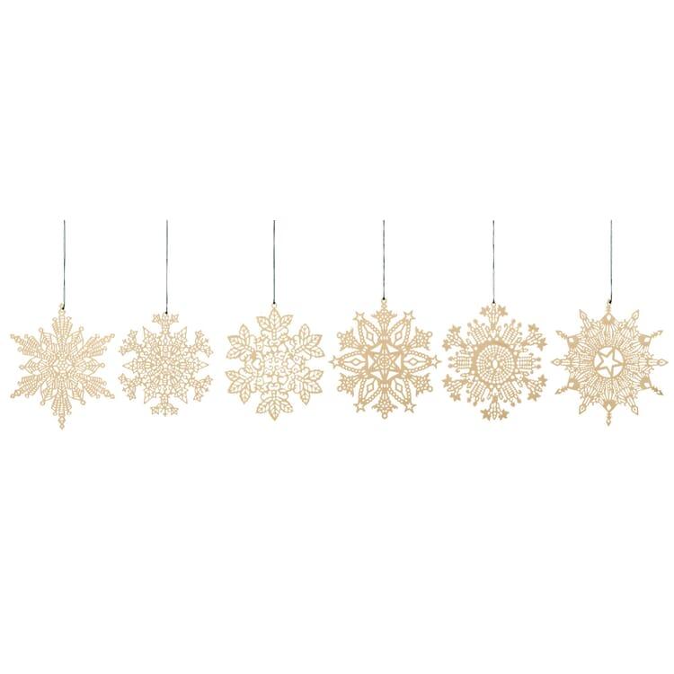 Messinghänger vergoldet, 6 Motive im Set: Schneekristalle