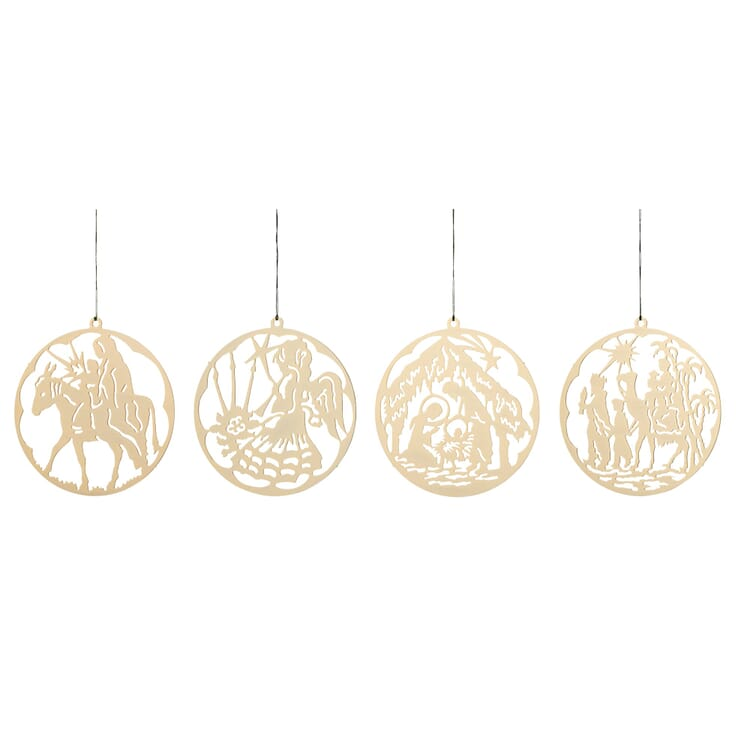 Messinghänger vergoldet, 4 Motive im Set: Die Weihnachtsgeschichte